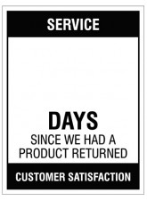 "Large Wipe Clean Board ""Service (Write Number) Days since a Product Return"""