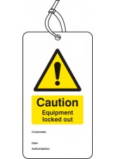 Lockout Tag - Caution Equipment Locked Out - 80 x 150mm (Pack of 10)