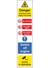 Danger Petroleum Spirit (Multi-Message) - 100 x 400mm