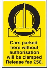 Cars Parked Clamped - Release Fee £50